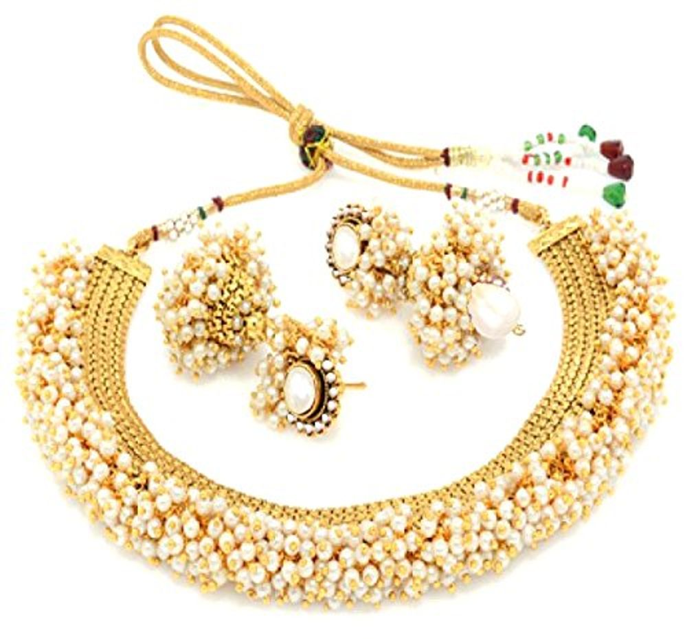 Jewellery India Online Shop Indian Gold Plated Necklace Sets: Youbella Exclusive Gold Plated Pearl Studded Traditional