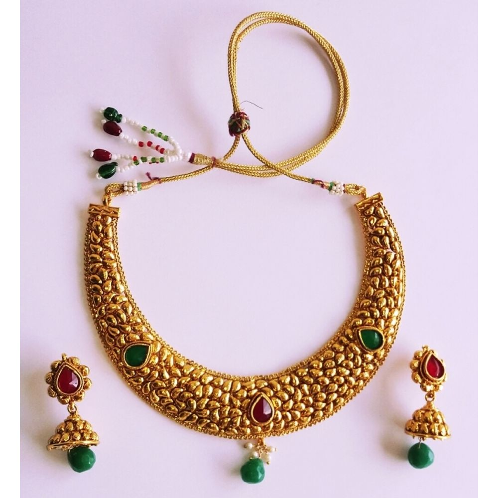 traditional Gold Plated Necklace Jhumki Earrings Set For Women ...