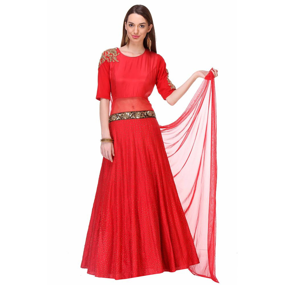 Mikukumar Deep Red One Piece Indian Gown | Mk050175