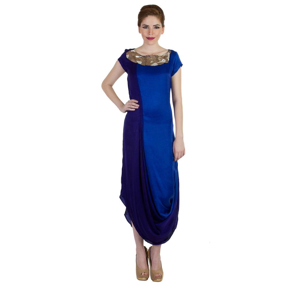 Mikukumar Navy-Blue Embellished Draped Dress