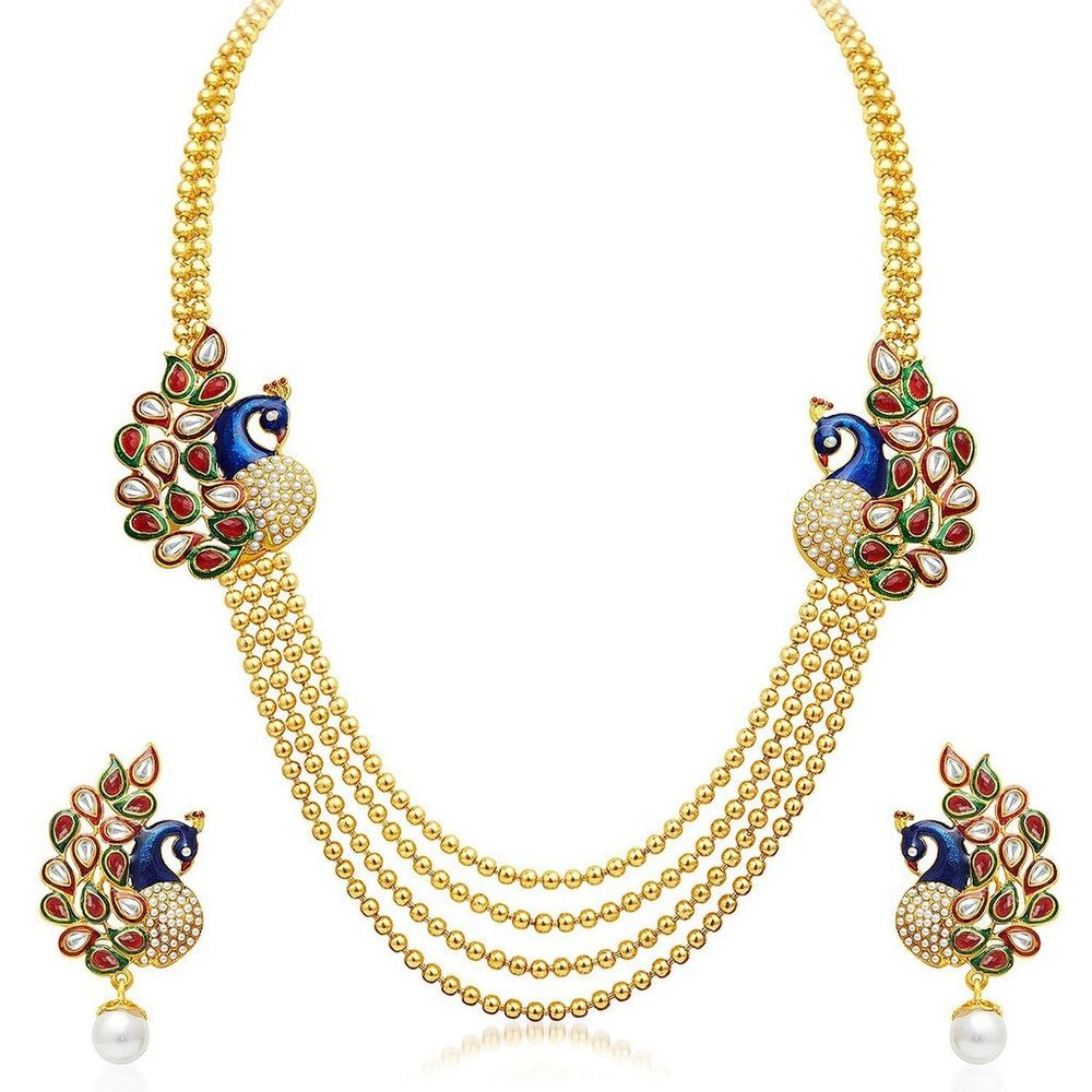 cfa1a280c Youbella Traditional Dancing Peacock Temple Gold Plated Jewellery ...