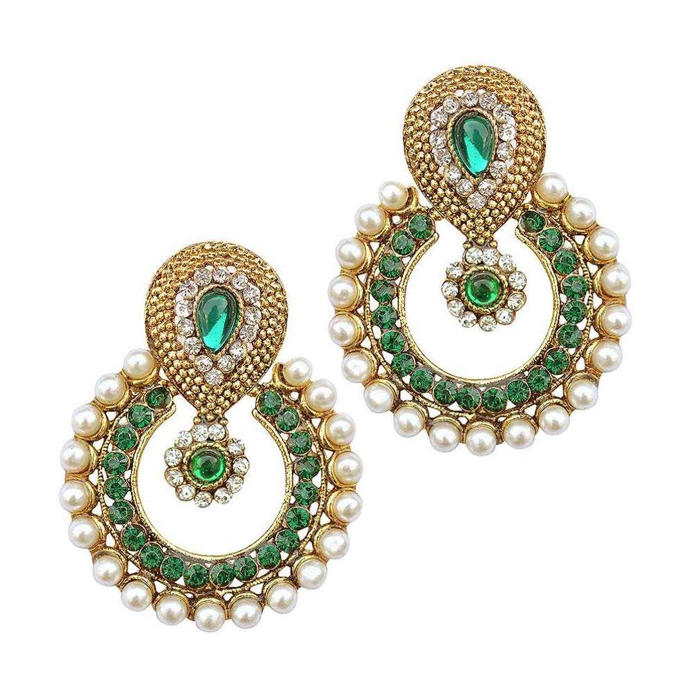 Youbella Designer Green Traditional Pearl Earrings Ybear3021fon