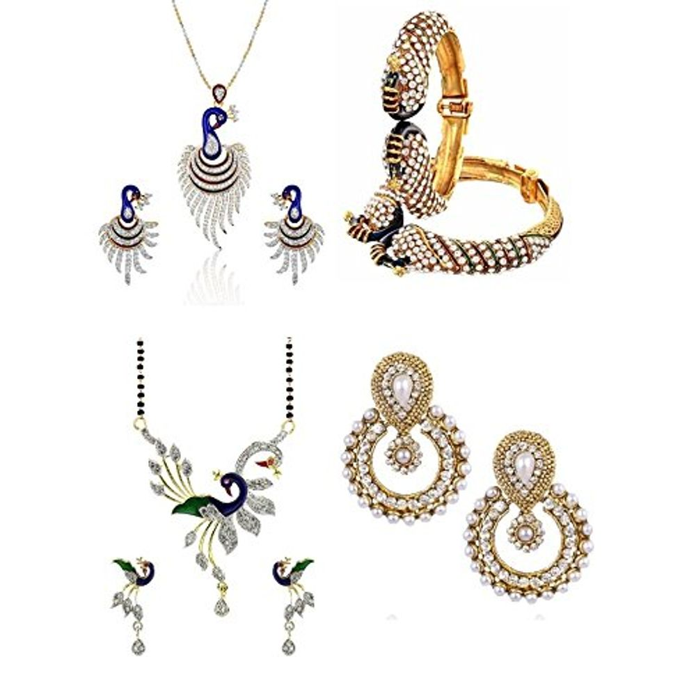 956aa95df19db Youbella Womens Pride Collection Combo Of Dancing Peacock Pendant ...