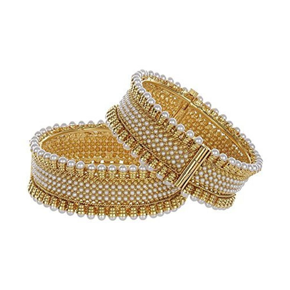 Youbella Traditional Jewellery Gold Plated Pearl Bangles For Women ...