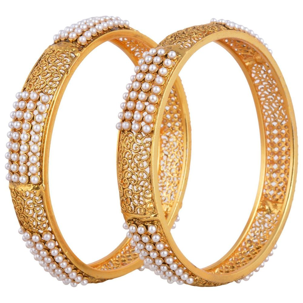 Youbella Designer Gold Plated Jewellery Pearl Studded Bangles For ...