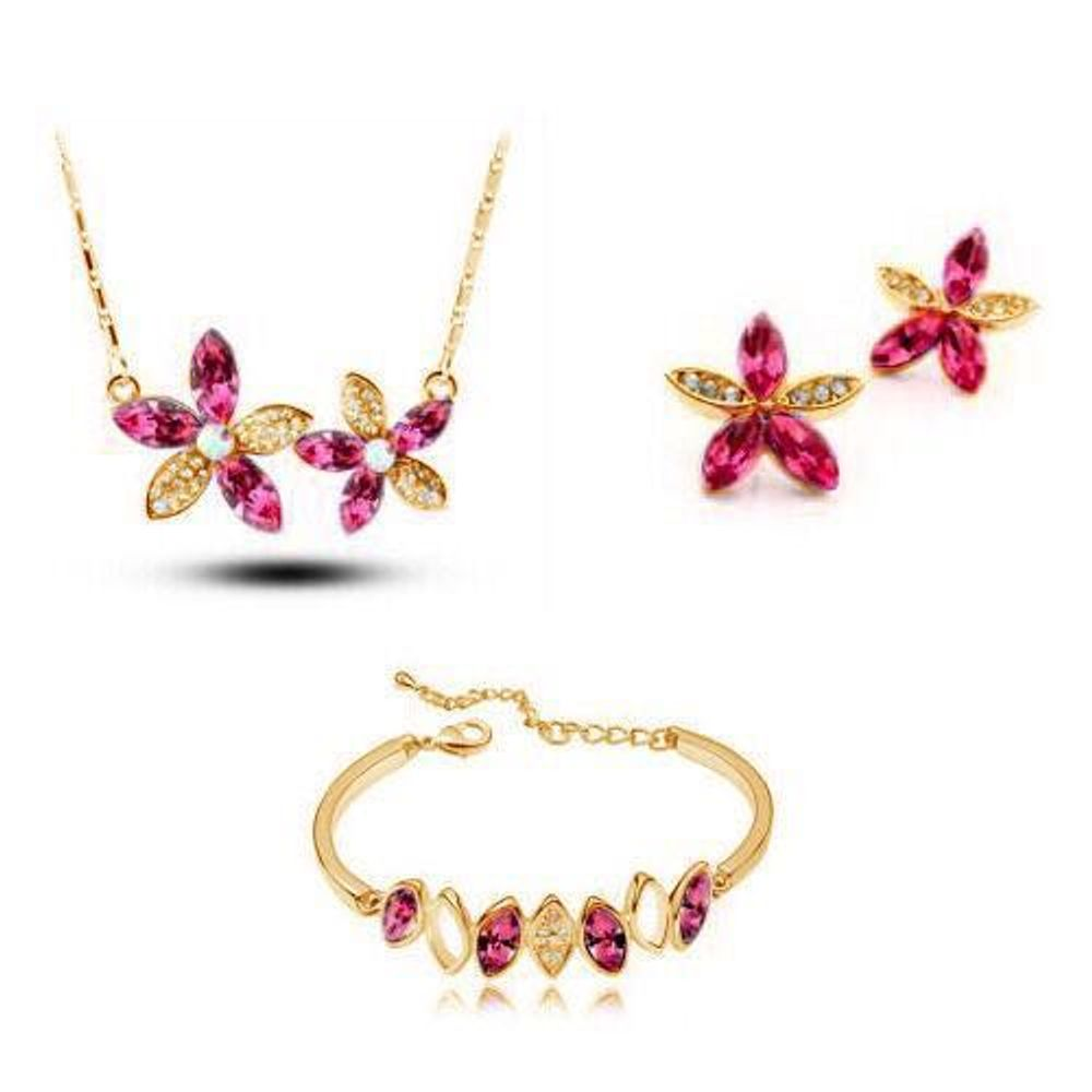 Divine golden pink star shaped pendant set with earrings and zoom mozeypictures Choice Image