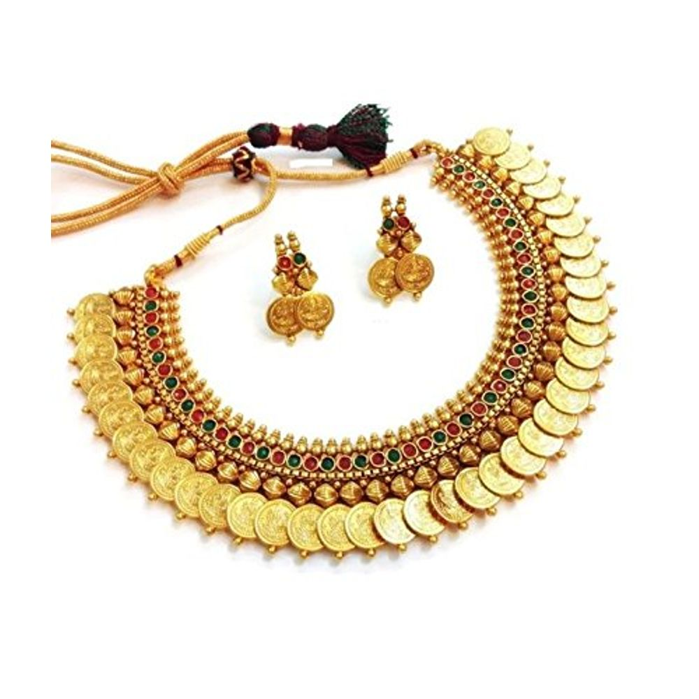 83273cf557dd1 Youbella Red And Green Gold Plated Choker Necklace With Earrings Set For  Women | Ybybnk34511fon