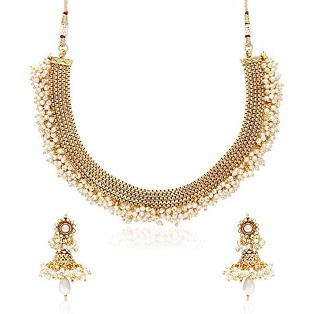 Youbella Latest Traditional Pearl Temple Coin Necklace Set ...