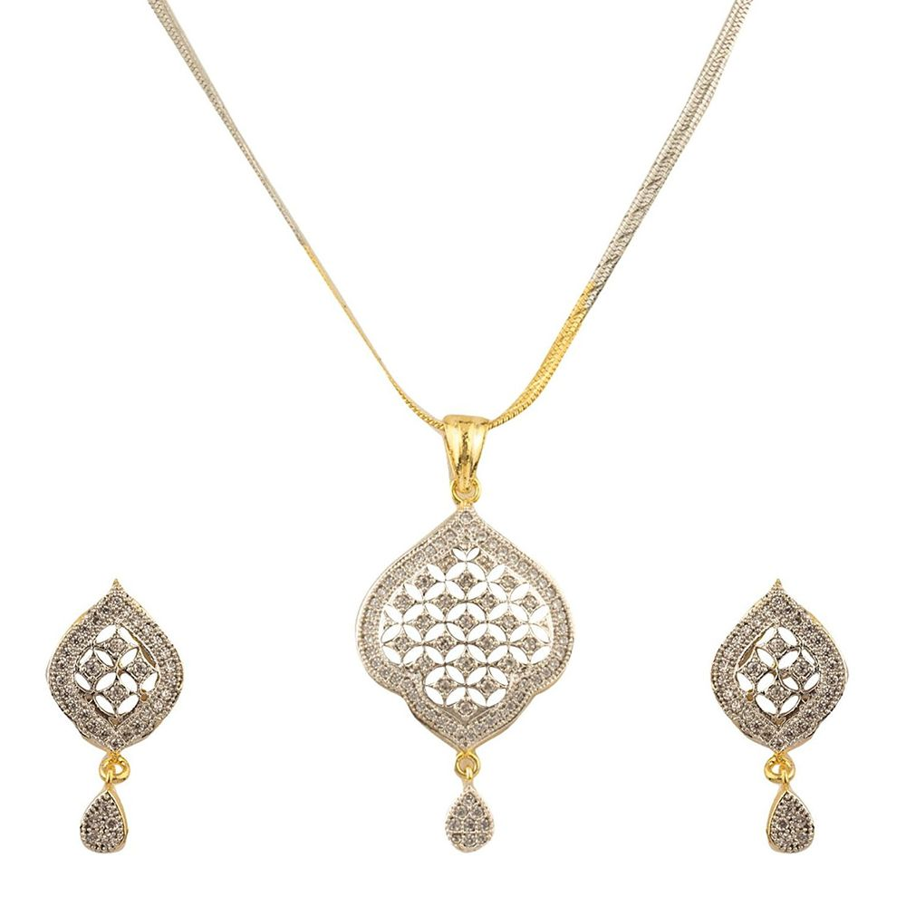 Youbella jewellery american diamond gold plated pendant set necklace zoom aloadofball