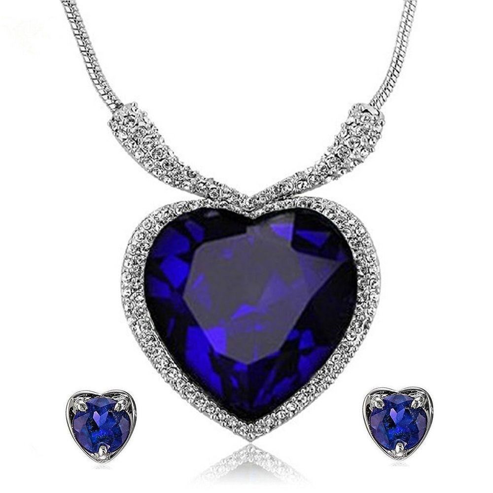buy titanic heart of the ocean crystal zircon jewellery necklace set
