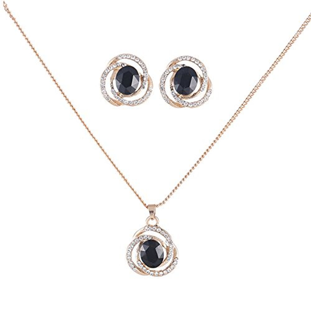 Buy black crystal jewellery necklace set with earrings for women zoom aloadofball Gallery