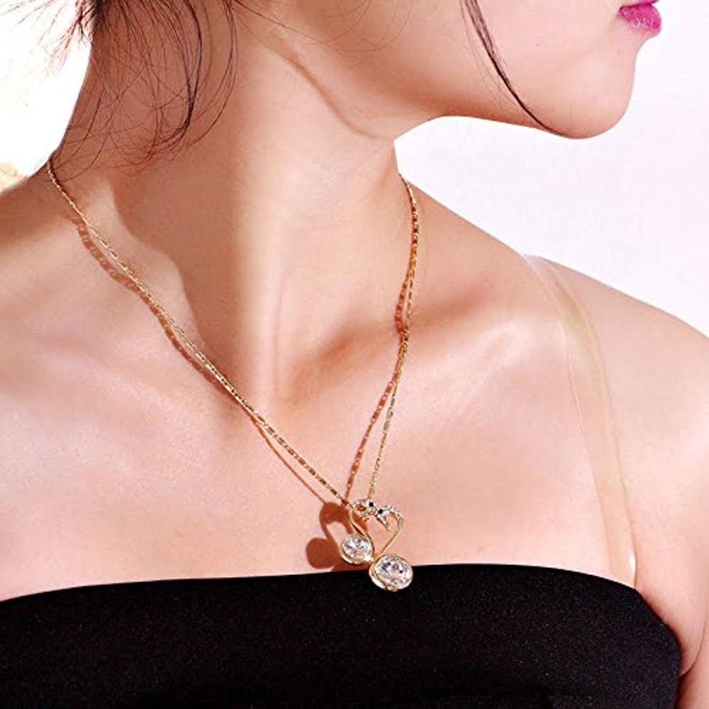 gold love buy ybpd imperial online shop by crystal blue gorgeous bird necklace drop dead glossed pendant youbella