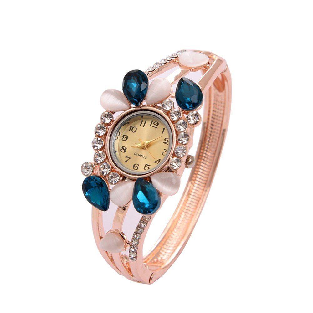 Buy lustorous aquamarine crystal jeweled rosegold watch online youbella for Aqua marine watches