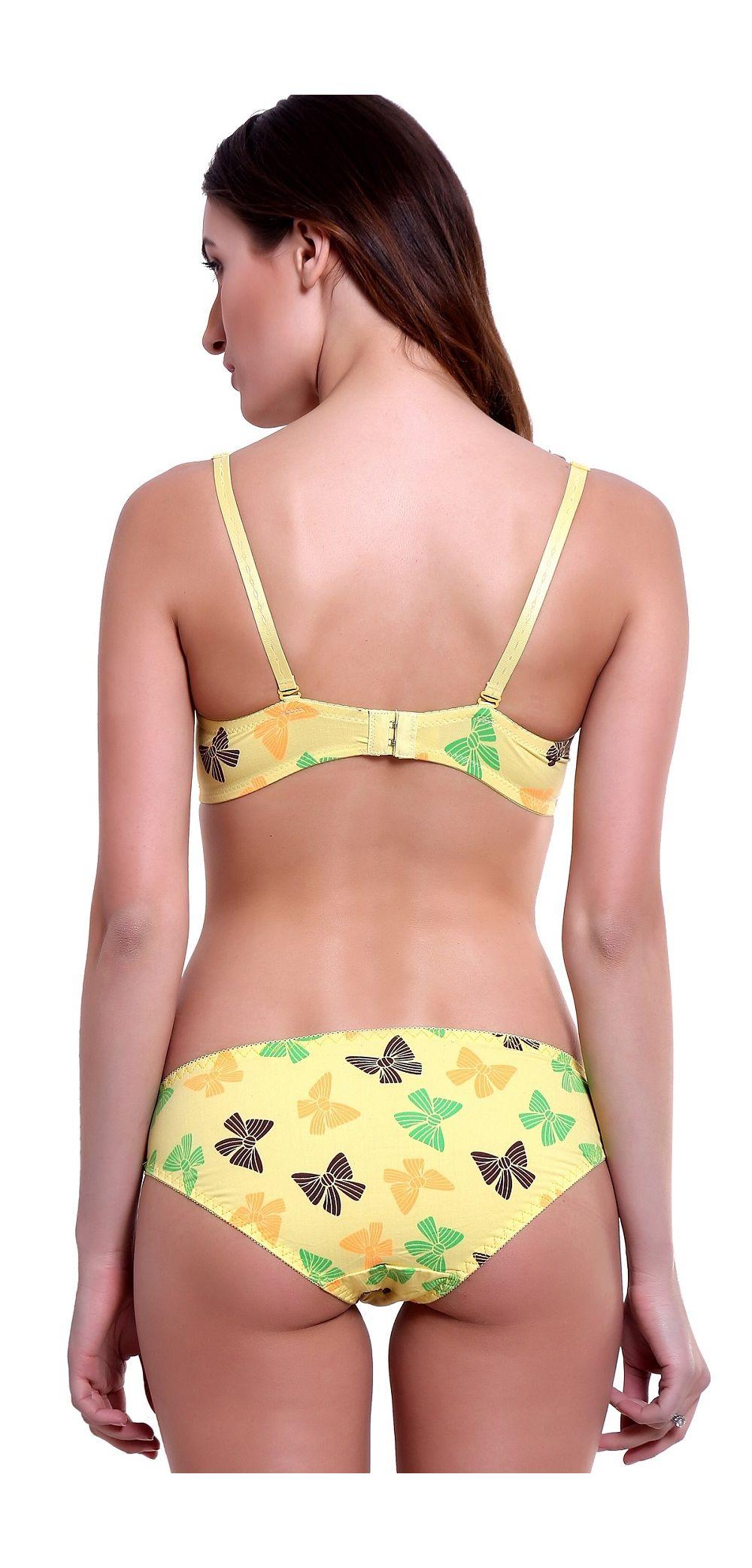 c9f52ffa19 YELLOW Love Butterfly Cotton Underwire non Pushup T-Shirt Bra   Bikini Panty  Set. 1623 ultra-white shiny lace ...