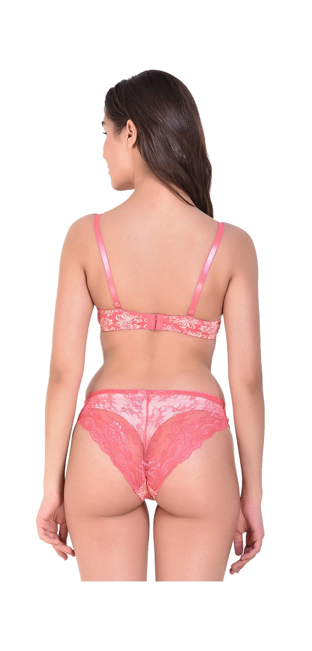 63575f3e1f Angels Aura Women's Double Push Up Bra and Bikini Set, Color- PEACH