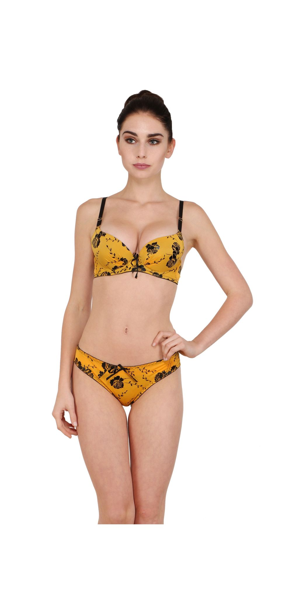 ebc849c22e sold-out-image Sexy Roses Soft Pushup Bra   Stainless Bikini Panty Yellow  Set. ‹ ›