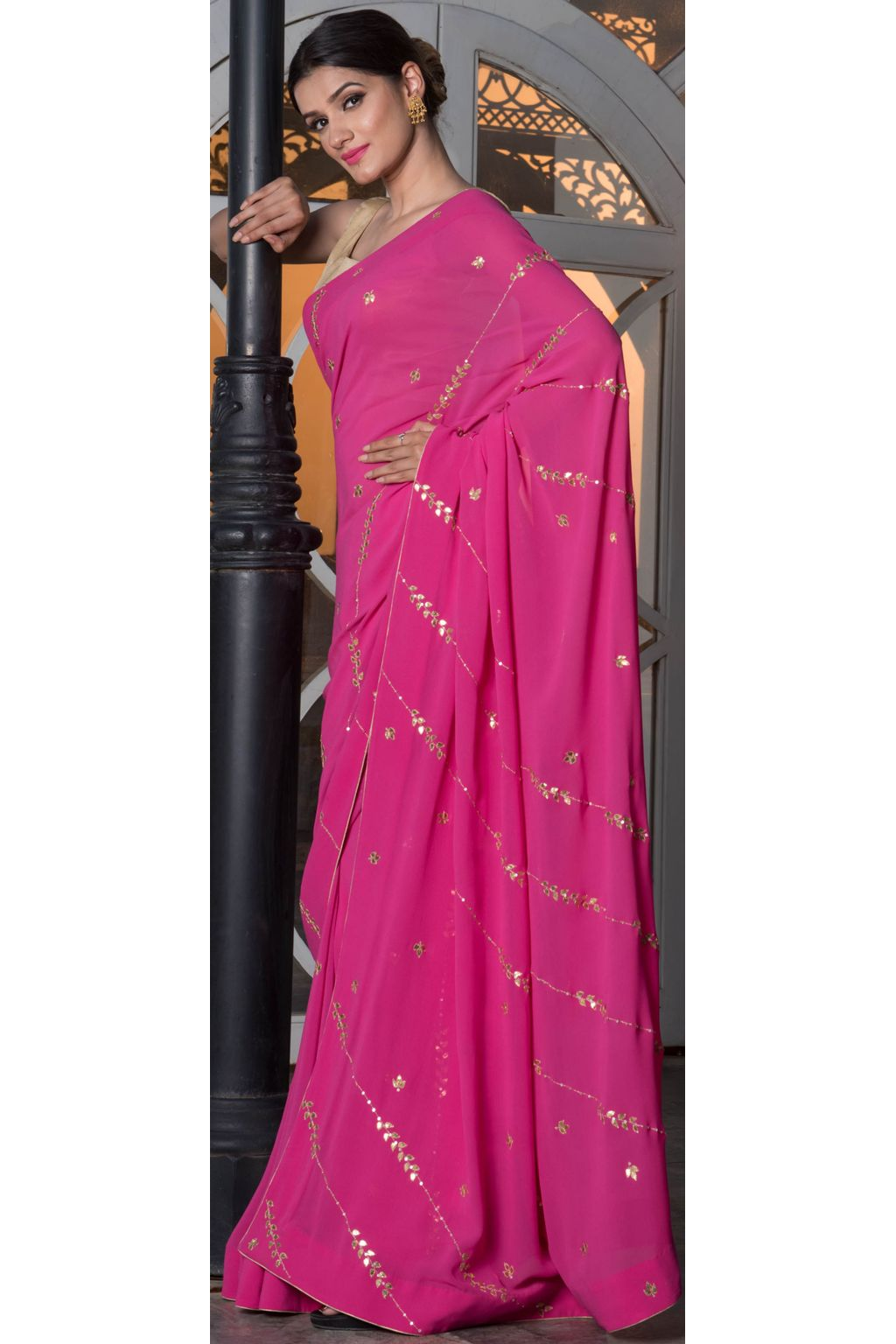 b60e7d6332 Indian Pink Gota Patti embroidered georgette saree and blouse set