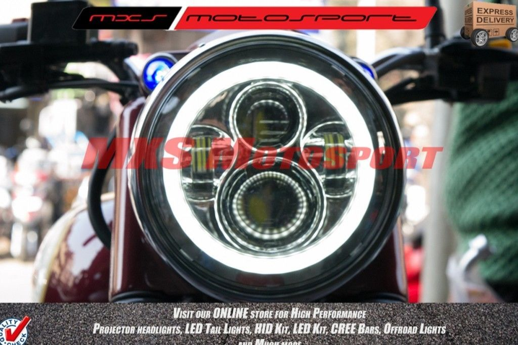 Motorcycle Led Headlight Kit >> MXSHL98 LED Monster Projector Headlight for Royal Enfield Bullet Classic 350 & 500 Motorcycle