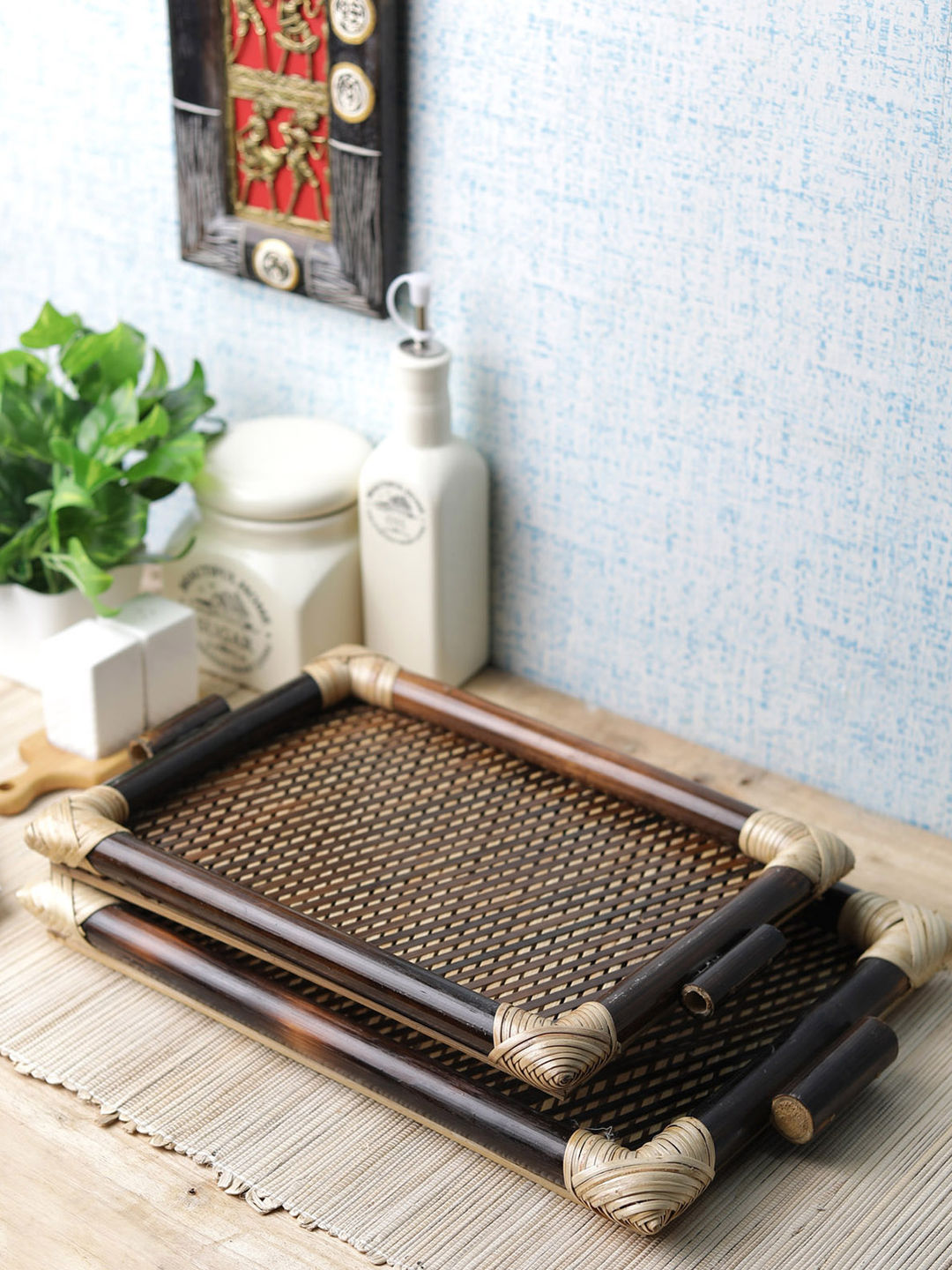 Bamboo Serving Trays Set