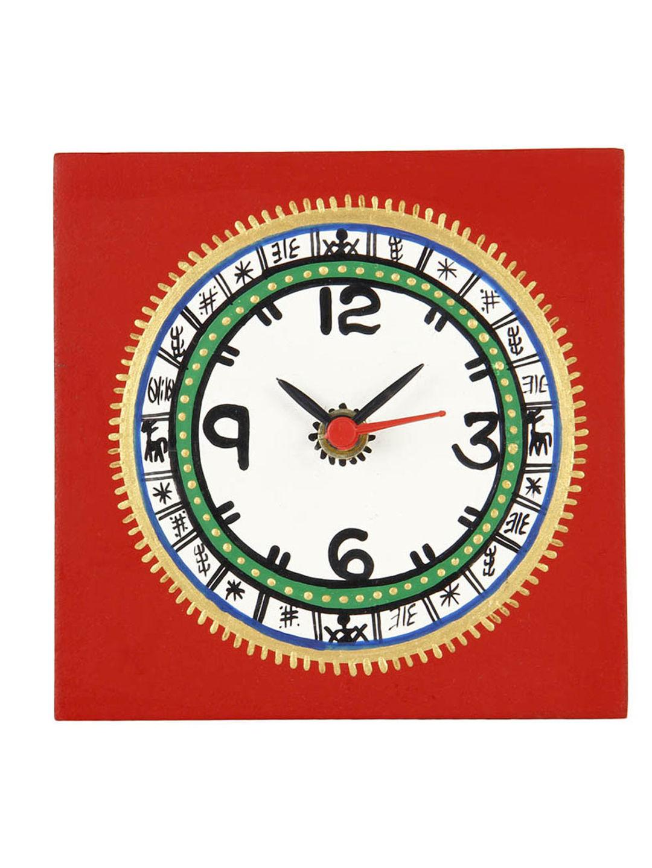 Red Warli Table Clock