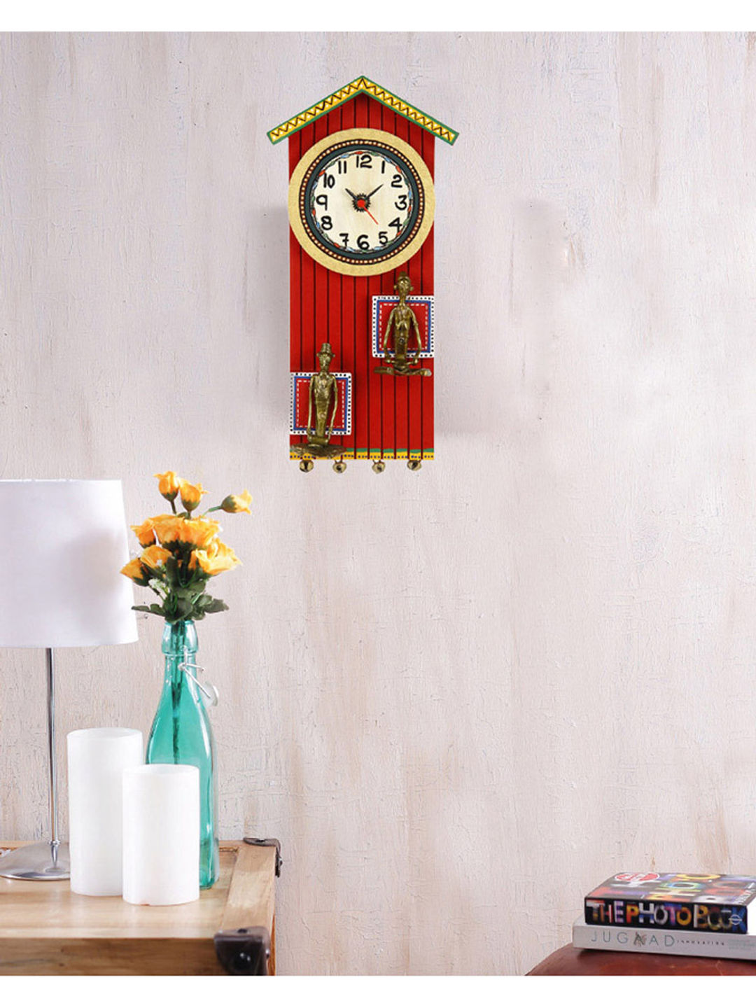 Red Dhokra Wall Clock