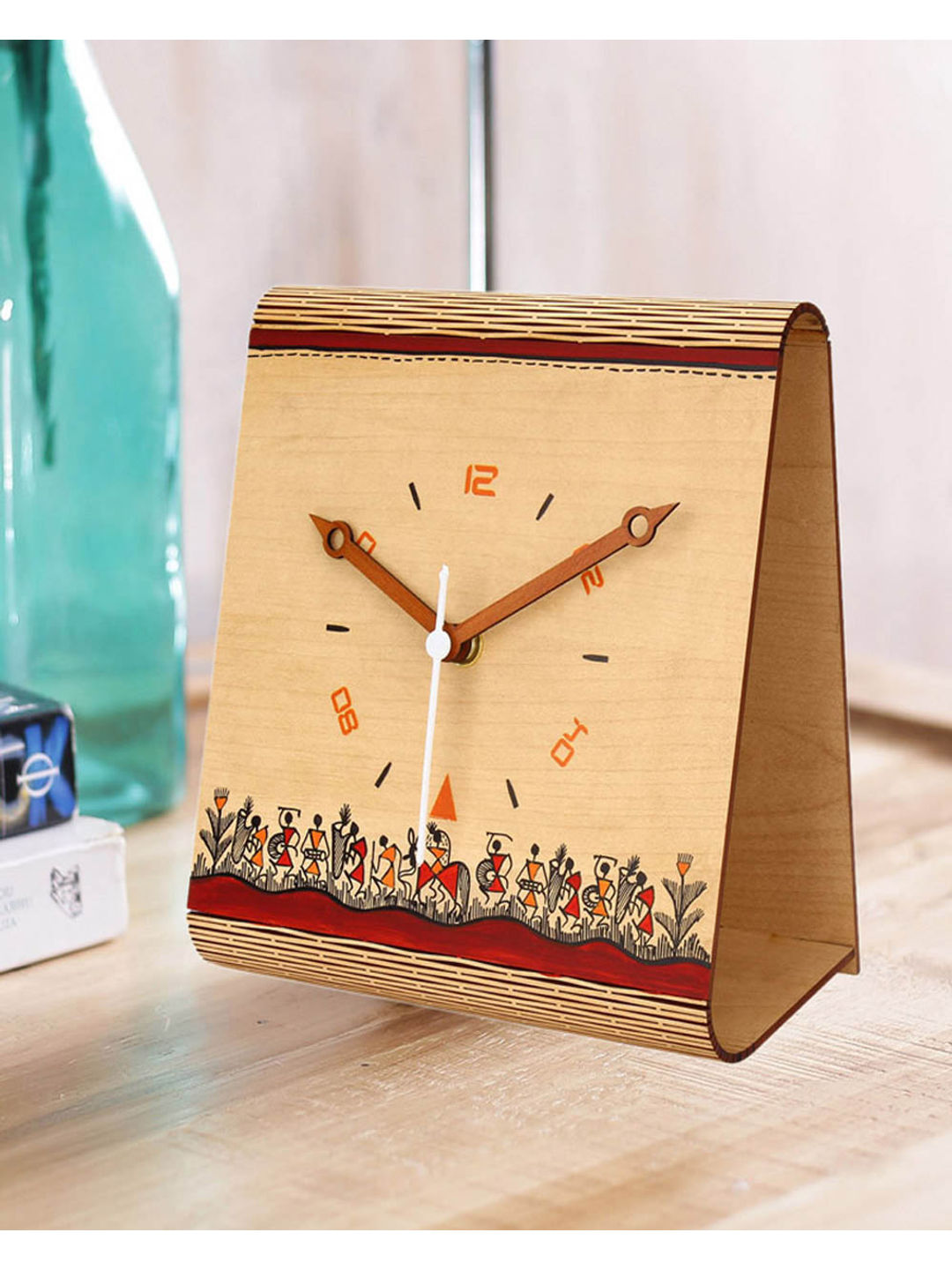 Handcrafted Wooden Warli Table Clock
