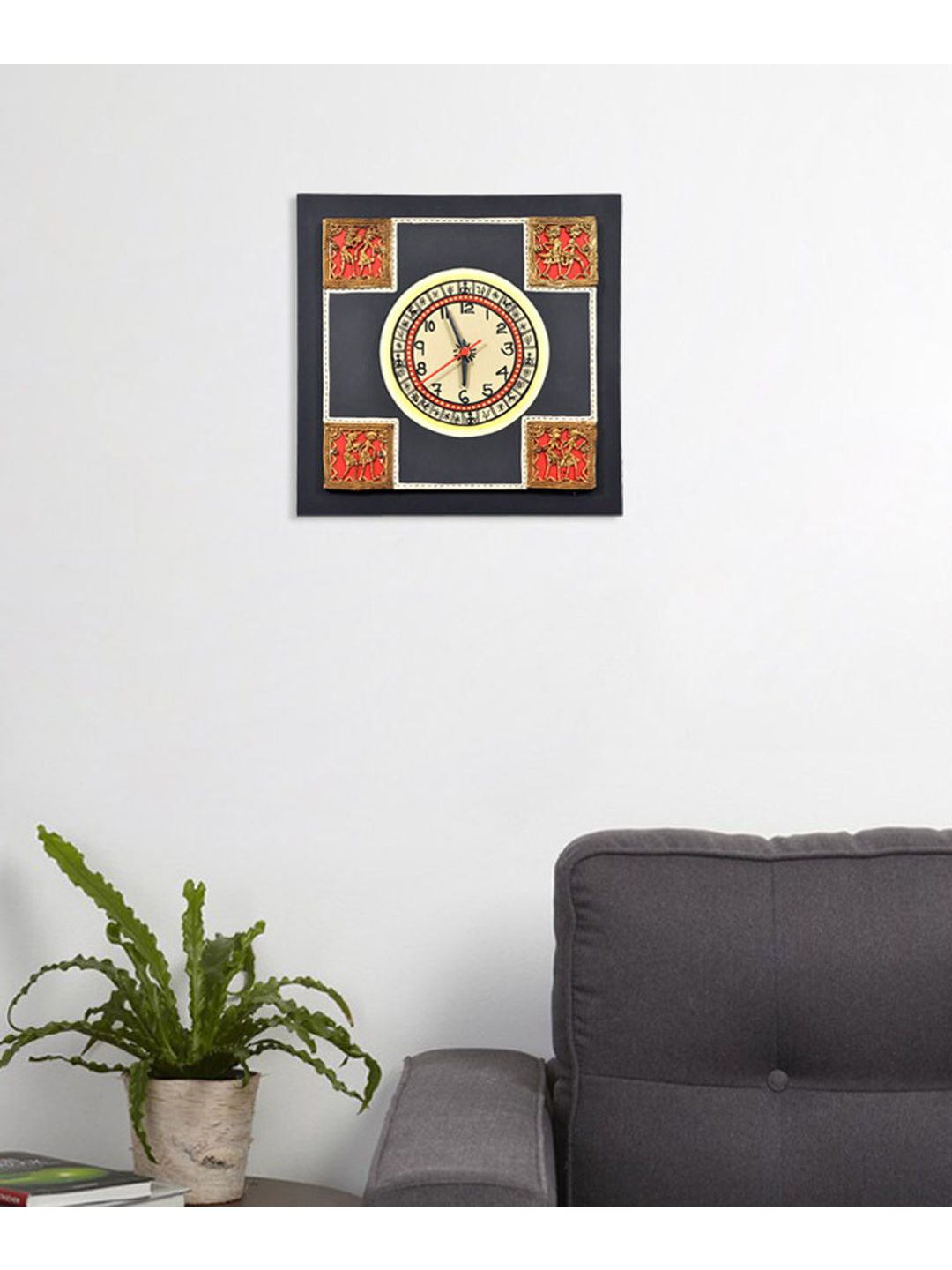 Handcrafted Black Dhokra Wall Clock