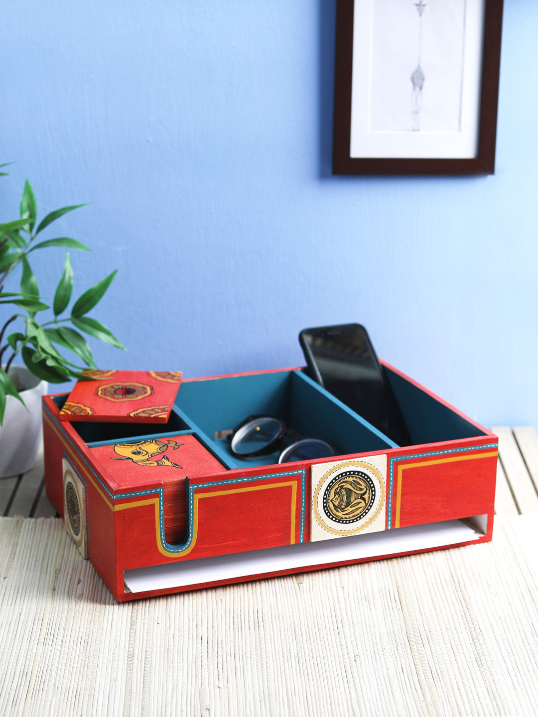 Hand Painted Red Blue Desk Organizer with Six Coasters
