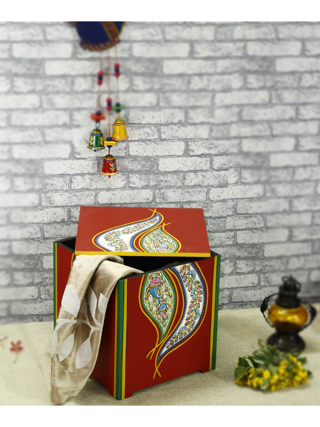 Red Madhubani Wooden Storage Box