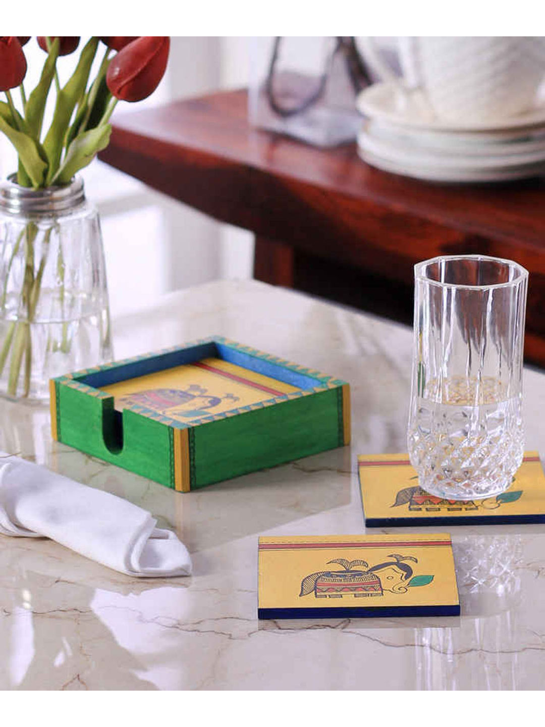 Hand Crafted Yellow Ethnic Wooden Coasters