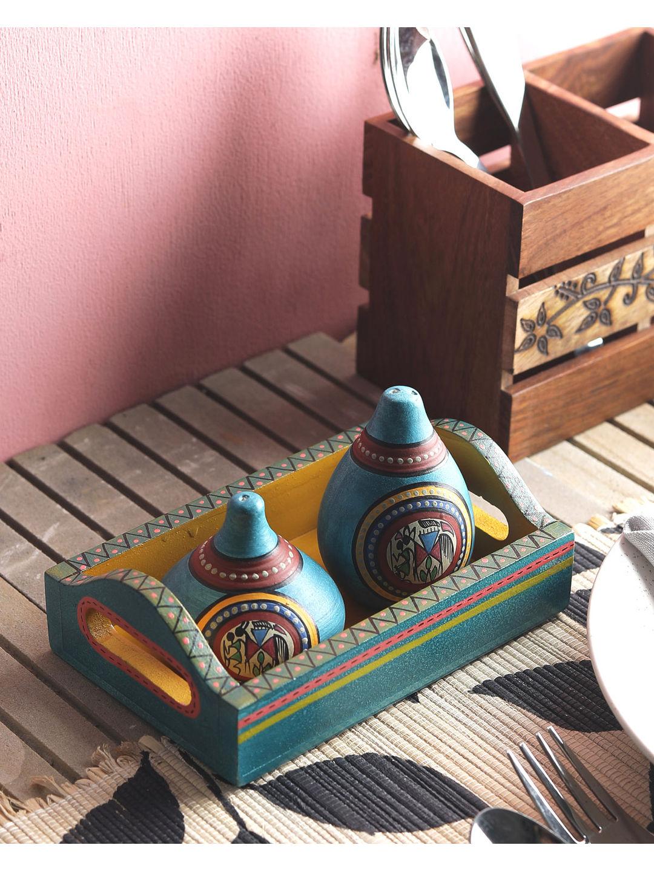 Hand Painted Warli Blue Green Salt N Pepper Set