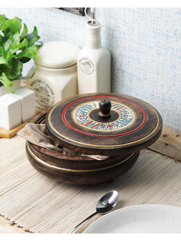 Hand Painted Wooden Chapati Box Casserole