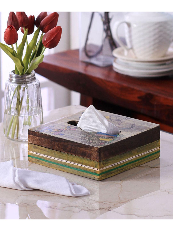 Hand Painted Madhubani Wooden Tissue Box