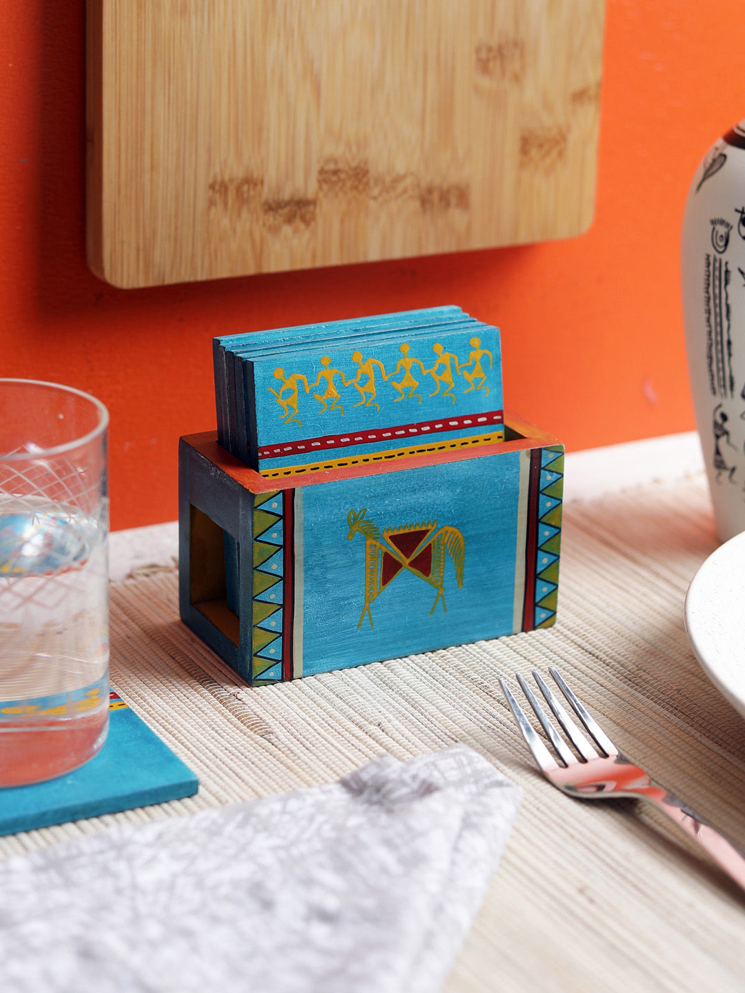 Hand Painted Blue Wooden Coasters with Holder