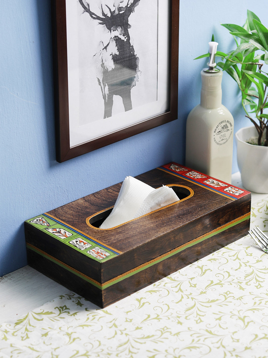 Hand Painted Warli Painted Wooden Tissue Holder Box