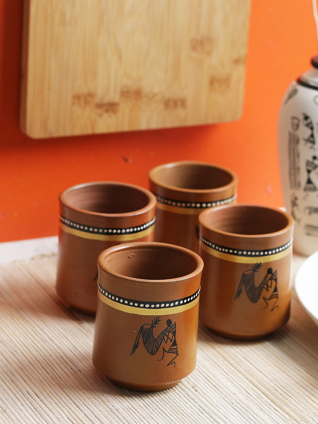 Hand Painted Warli Terracotta Glasses Set of Four