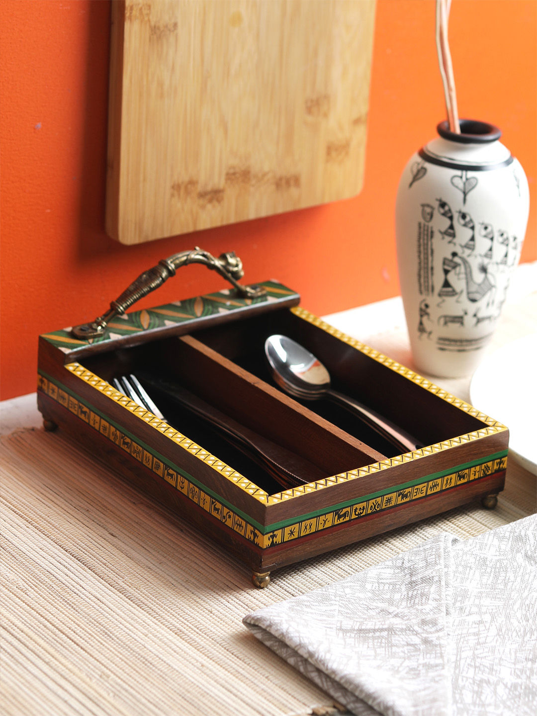 Sheesham Wood Cutlery Holder with Brass Handle