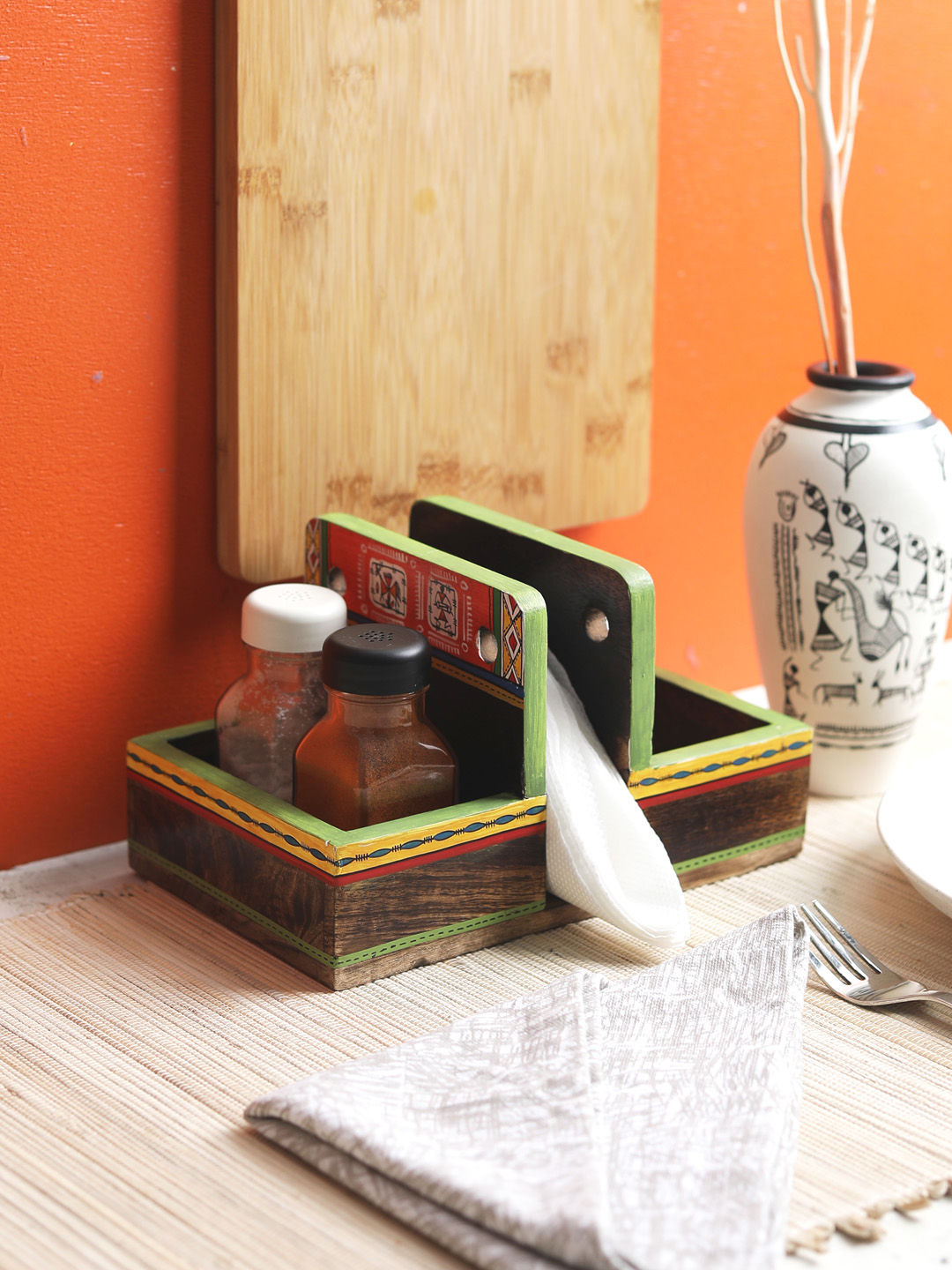 Mango Wood Tissue Holder with Cutlery/ Condiment Holder