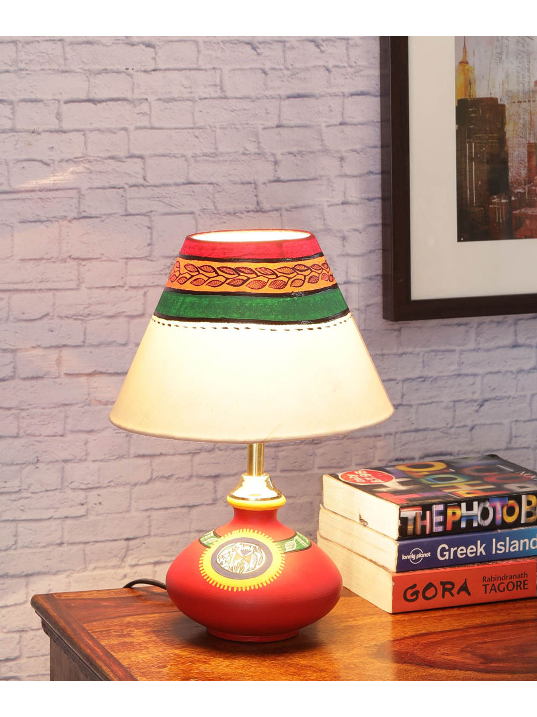 Handpainted Flat Red Terracota Lamp with Shade