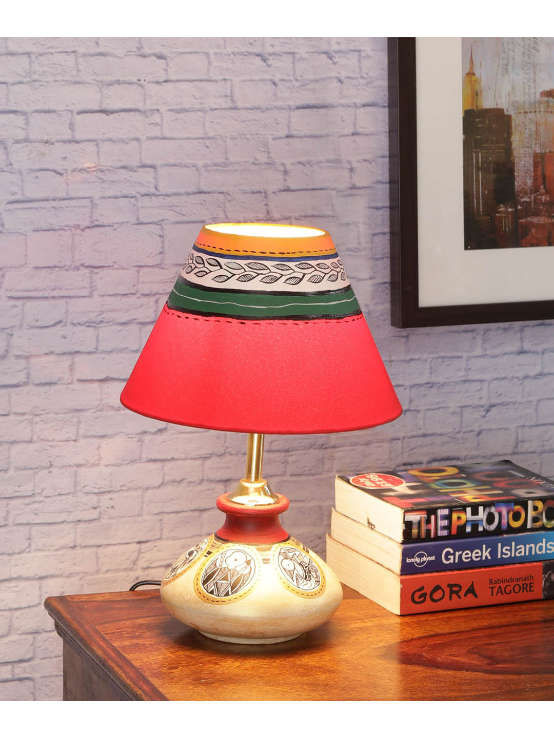 Terracotta Flat Simmer Gold Lamp with Shade