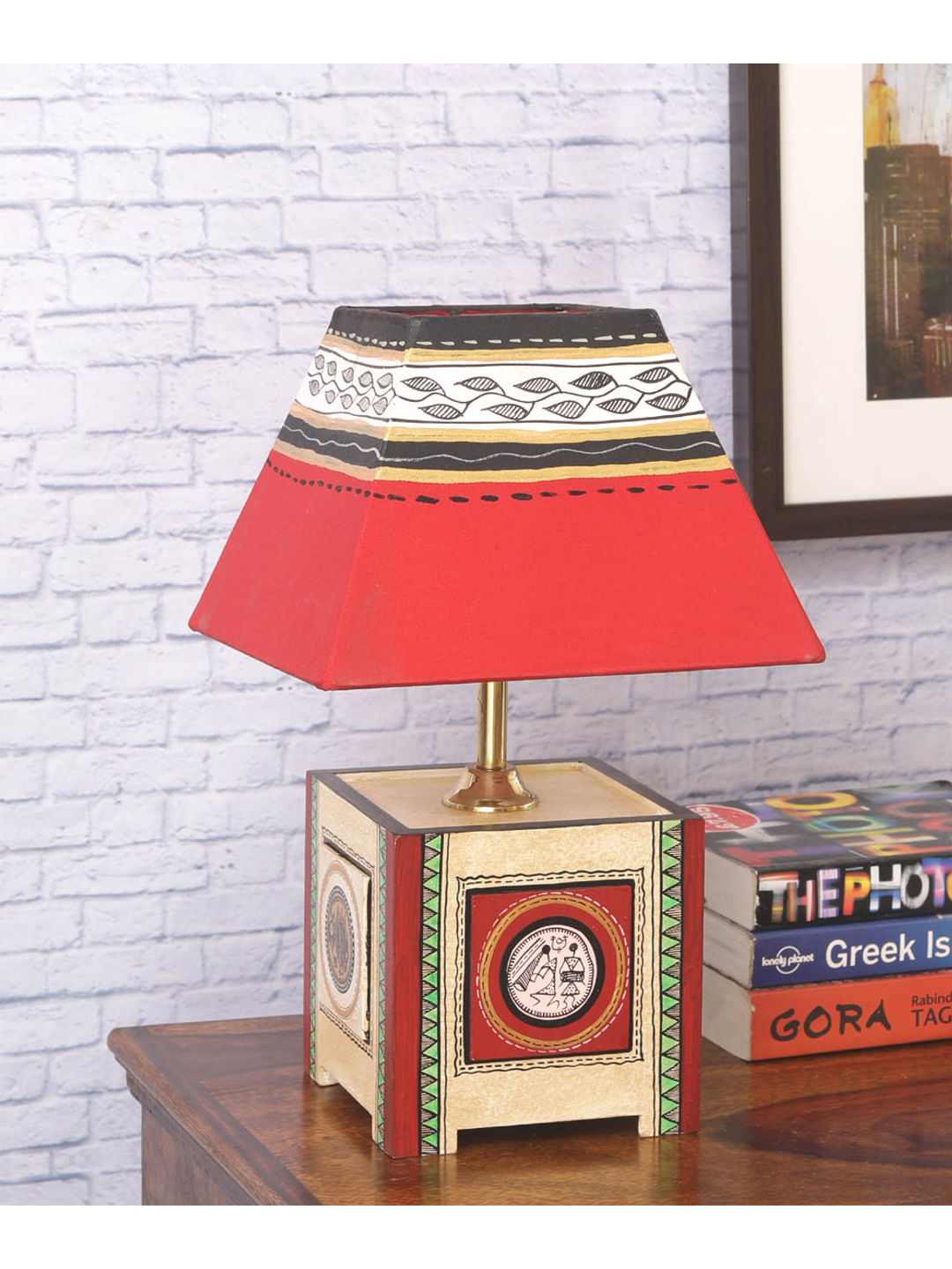 Gold Dhokra Wooden Lamp