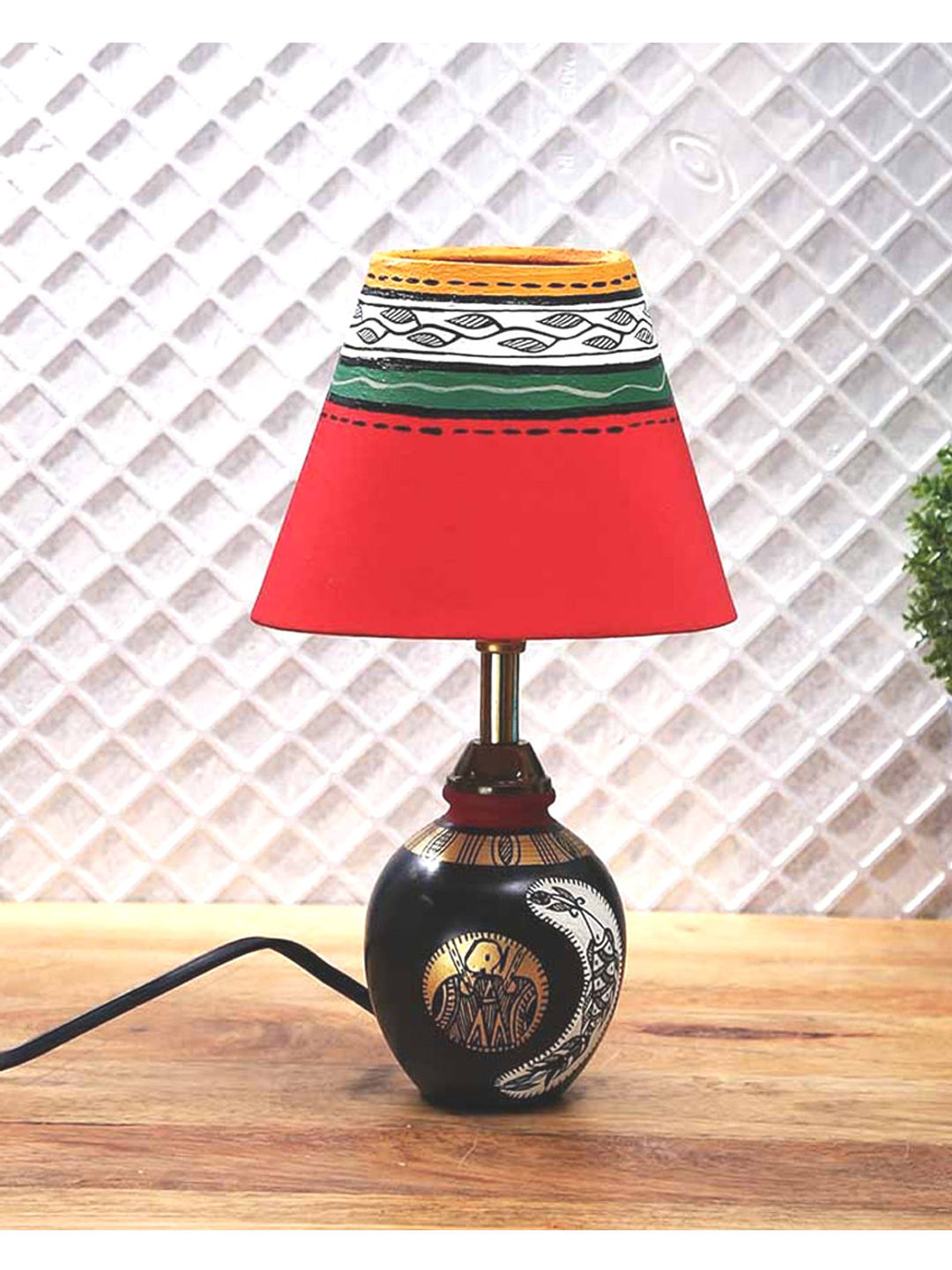 Antique Black Tribal Lamp with shade