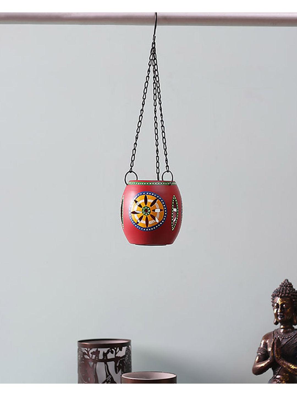 Handpainted Red Tea Lite Hanging