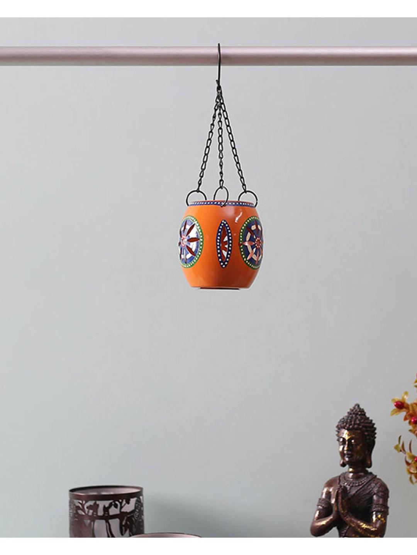 Handpainted Orange Tea Lite Hanging