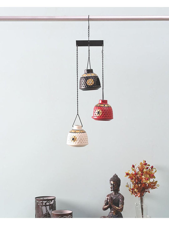 Handcrafted Tea Lite Hanging Trio Set