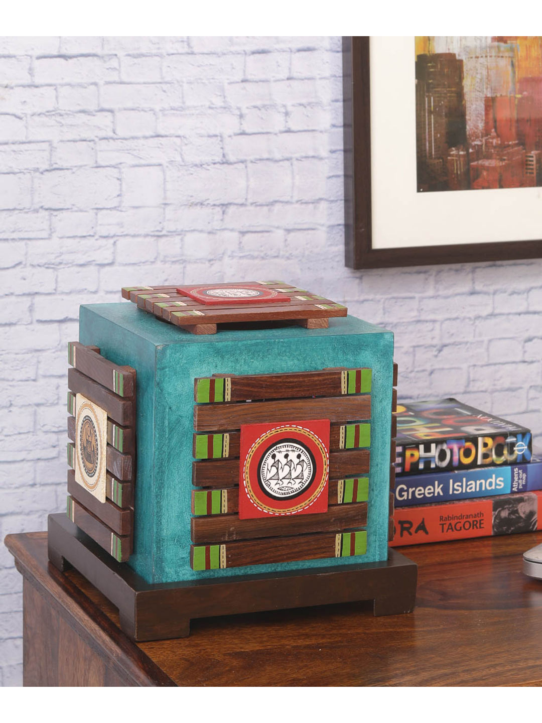 Ethnic Teal Blue Wooden Panel Lamp