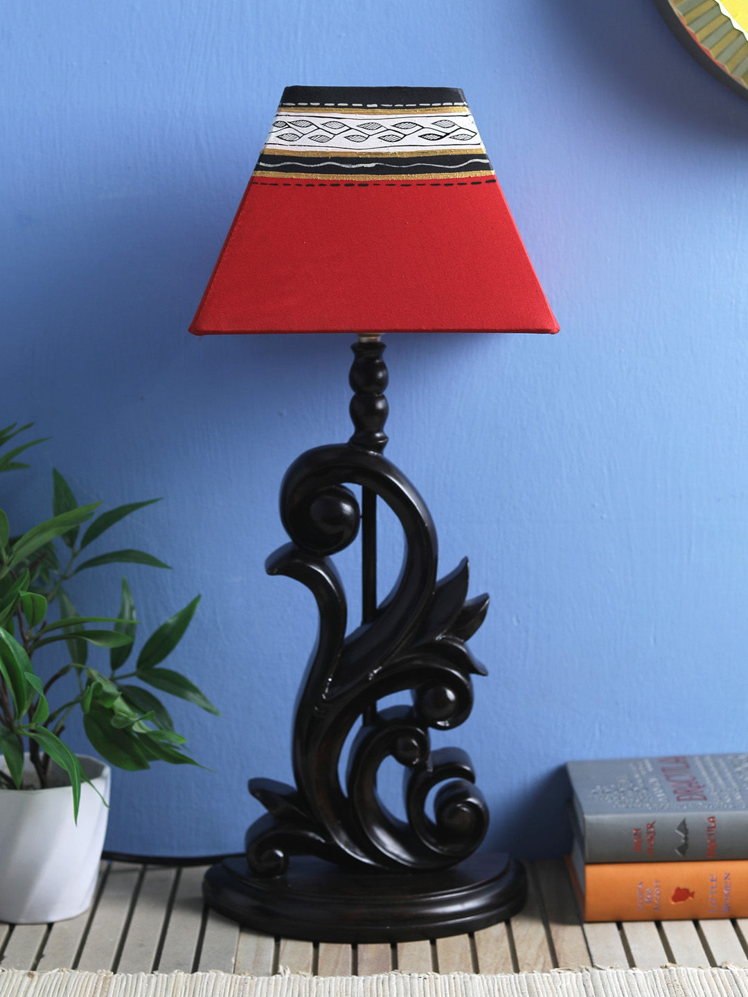 Handpainted  Square Red Black Warli Lamp Shade