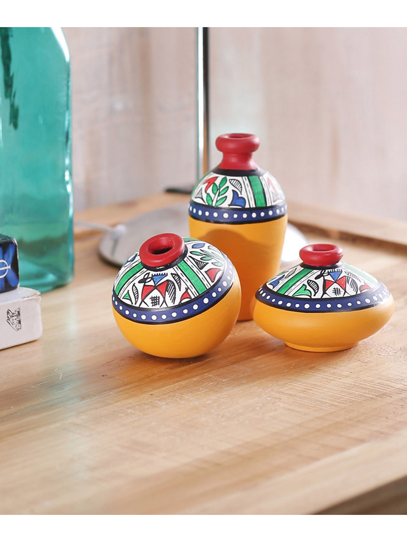 Miniature Yellow Terracotta Pots Set