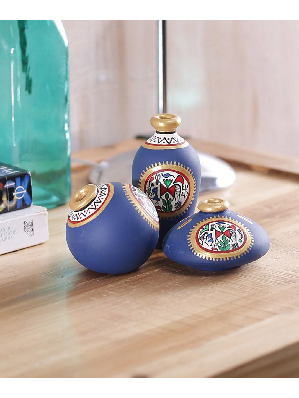 Miniature Blue Terracotta Pots Set