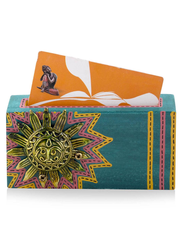 Dhokra Work Blue Visiting Card Holder